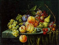peaches, grapes, cherries and prunes on a pewter plate on a draped stone ledge by g.j. oberman