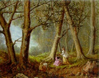 elegant ladies in a woodland landscape by lucien simonnet