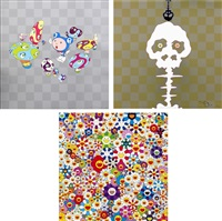 !n cha!/ if i could reach that field of flowers, i would die happy/ dokuro yellow (set of 3) by takashi murakami
