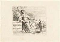 7 bll. aus: die folge mit den schafen (animalia) (+ stehender widder; 8 works) by nicolaes berchem