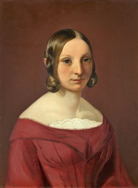 bildnis einer jungen dame in rotem kleid by philipp hoyoll