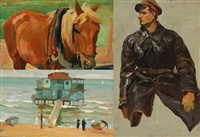 beach scene; portrait of a young man; horse by rudolf feodorovich frentz