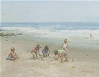 beach scene by james le jeune