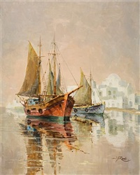 view of paraportiani from the harbour of mykonos by antonis kanas