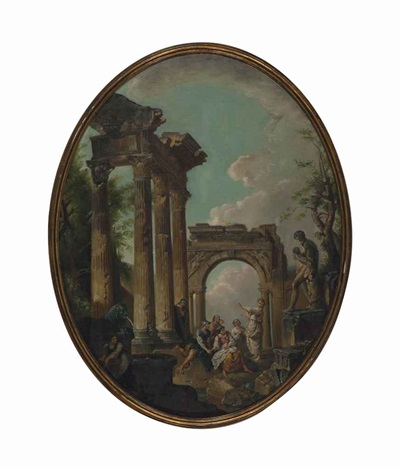a capriccio of classical ruins with shepherds and travellers resting by an arch by giovanni paolo panini