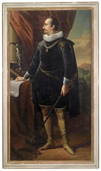 historisierendes porträt eines in ganzer figur neben einem kruzifix und büchern stehenden herrn, der mit dem orden vom goldenen vlies geschmückt ist by austrian school (19)