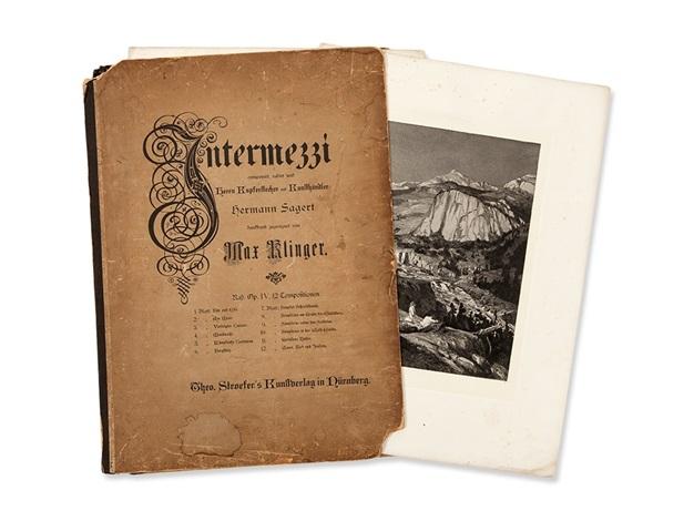 intermezzi with 12 etchings portfolio of 12 by max klinger