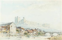 richmond castle, yorkshire (+ lincoln; pair) by arthur gerald ackermann