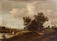 fermes en bordure de rivière by dirk-raphaelsz camphuysen