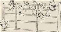 nine little puppy dogs swinging on a gate by cecil charles windsor aldin