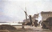 le déchargement du bateau au port du havre by albert françois fleury