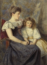 portrait of elizabeth rose and her daughter muriel lisa brown of dublin by joseph poole addey