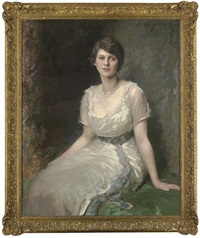 portrait of rosa lewis, seated three-quarter-length, in a white dress with a blue sash by daniel albert wehrschmidt