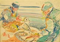 les deux pêcheurs (study for la tableau la bretagne) by xavier de langlais