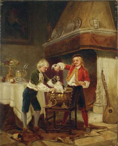 zwei kinder mit einem hund spielend by karl josef litschauer