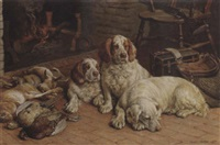 clumber spaniels by a fire by frank paton