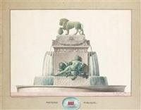 fontaine publique au lion et déesse antique (plan) by pierre marnotte