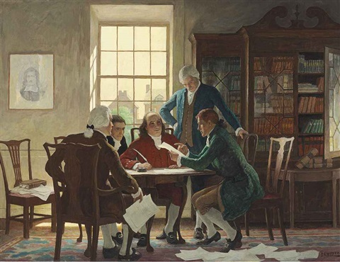 drafting the declaration of independence 1776 by newell convers wyeth