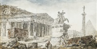 an architectural capriccio with figures amongst roman ruins by hubert robert
