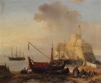 vue de port au nord d'afrique avec trois-mâts amarré près d'un château- fort avec phare by jacob jacobs