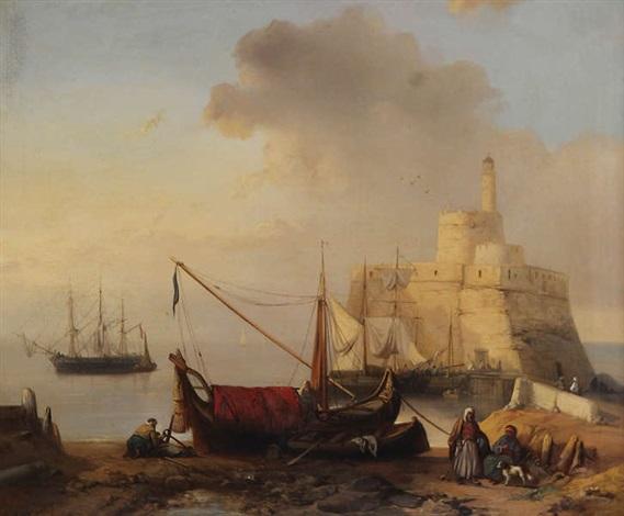 vue de port au nord dafrique avec trois mâts amarré près dun château fort avec phare by jacob jacobs