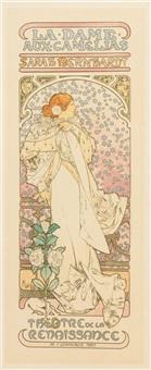 la dame aux camelias (plate 144 from les maitres de l'affice) by alphonse mucha