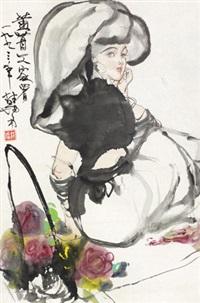少女 立轴 设色纸本 by lin yong