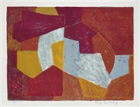 composition in carmine-red, brown, yellow, and grey by serge poliakoff