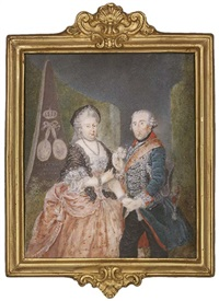 the prussian royal silver wedding anniversary portrait: frederick the great, king of prussia presenting a posy of pink roses and holding the hand of his wife elisabeth christine of brunswick-bevern by anton friedrich könig