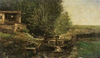 paisaje con lavanderas by serafín avendaño