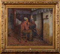 vieux couple devant la cheminée by edgard farasyn