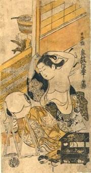 courtisane assise devant un miroir faisant sa toilette, son kimono ouvert laissant découvrir sa poitrine (hosoban tate-e) by okumura masanobu
