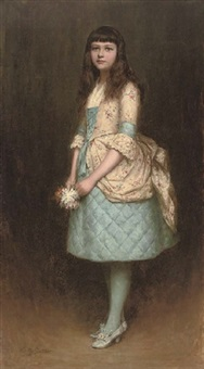 portrait of eva mackintosh in a blue dress with a cream flower covered bustle swag and bodice, holding a posy of flowers by charles a. sellar