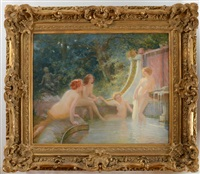 young bather in a fountain by albert auguste fourié