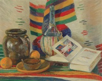 still life with colorful blanket, wine bottle, open book, fruit, etc. by amanda tester snyder