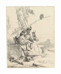 the family of the oriental peasant, from: scherzi di fantasia by giovanni battista tiepolo