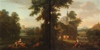 paysage aux bergers et temple circulaire (+ mère et son enfant dans un paysage; pair) by henri-joseph antonissen