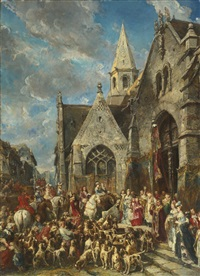 st. hubert's day (the blessing of the hounds) by louis gabriel eugène isabey