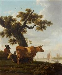 un paysan et une paysanne avec leurs vaches (pair) by frans swagers