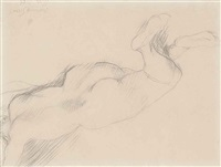 reclining female nude by duncan grant