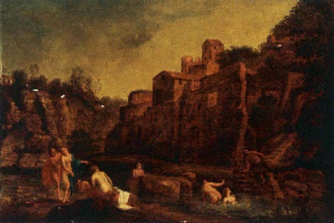 nymphs bathing in a pond, with a village on a hill by claes nicolas jacobsz tol