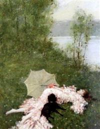 sieste au bord de l'eau by ferdinand heilbuth