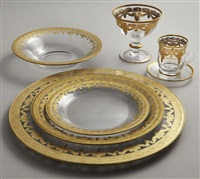 vetro gold dinnerware and glassware (set of 85) by arte italica