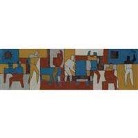 murals at the hospital saint bois pabellon (study) by juan pardo & taller torres garcía