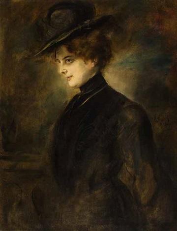 porträt einer vornehmen dame by franz seraph von lenbach