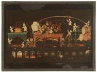 illuminations des magasins du louvre. paris (2 works) by léon gimpel