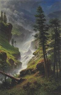 rocky mountain waterfall by albert bierstadt