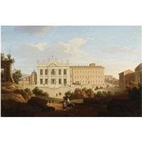 roma, veduta della facciata di san giovanni in laterano by giacomo van (monsù studio) lint