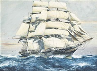 the cutty sark ploughing her way across the ocean by jack spurling