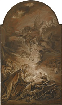 the nativity with a hovering angel by françois boucher